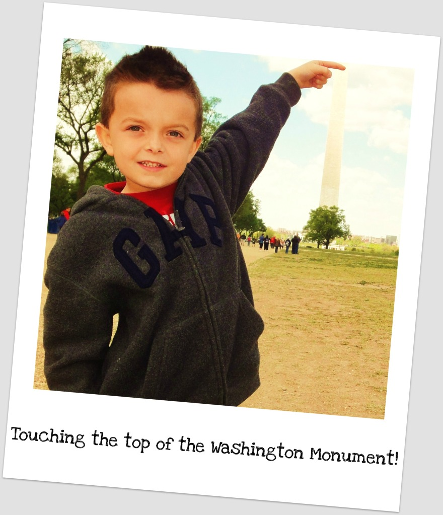 Luke with Washington Monument