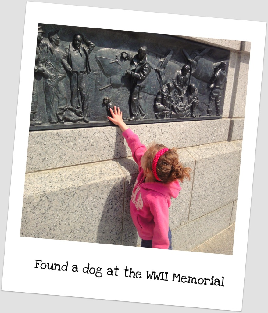 Leah pointing to WWII memorial.