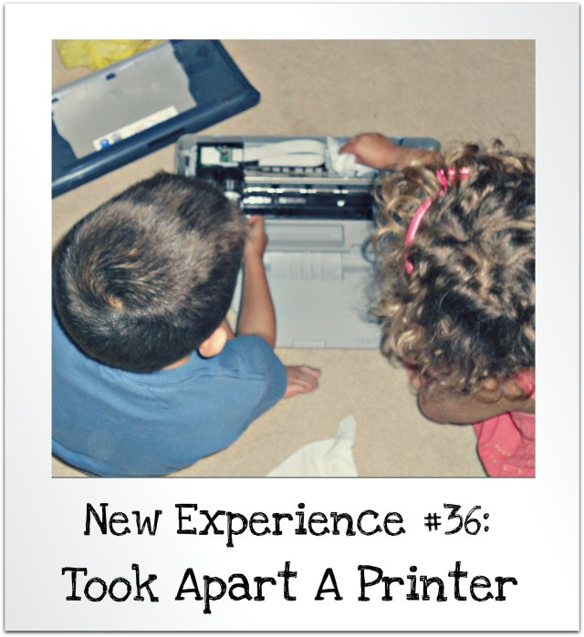 kids take apart a printer